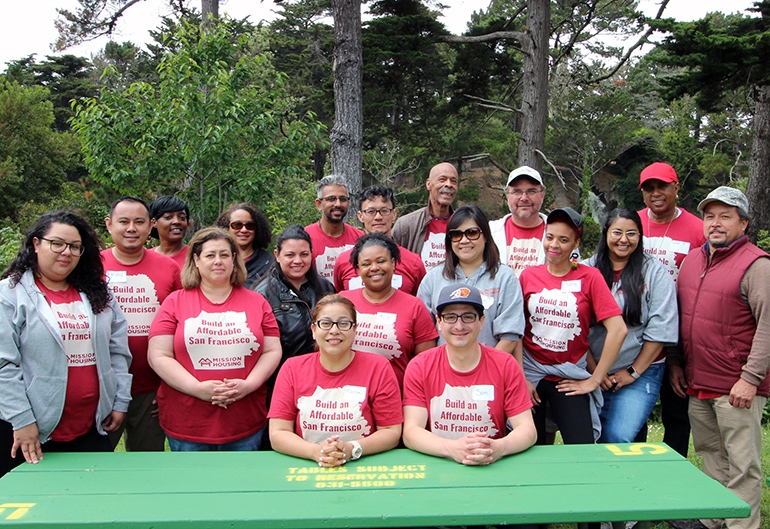 Staff from Mission Housing Development Corporation gathered in Golden Gate Park for a retreat, and a day of team-building group activities. July 17, 2018